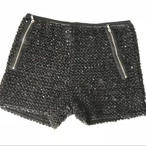 Pants - Sequins Black Shorts (Party Shorts)